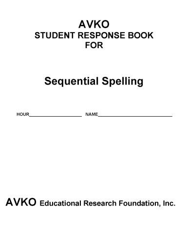 9781564001337: AVKO Student Response Book for Sequential Spelling