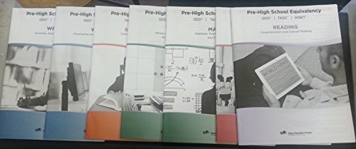 9781564206404: Pre-High School Equivalency GED TASC HiSet Reading Science Math 1 & 2, Social Studies, Writing 1 & 2