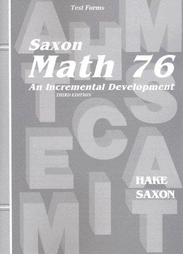 Saxon Math 7/6: Home School-tests: Hake, Stephen