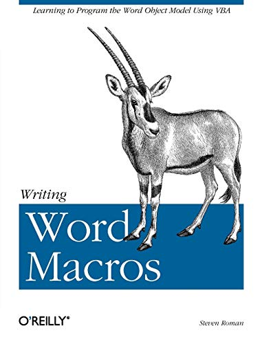 9781565927254: Writing Word Macros: An Introduction to Programming Word using VBA