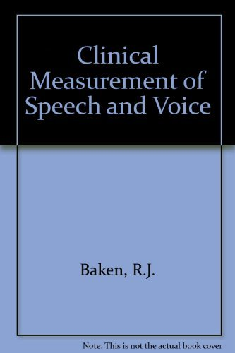 9781565938090: Clinical Measurement of Speech and Voice