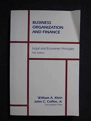 9781566620475: Business Organization and Finance: Legal and Economic Principles (University Textbook Series)