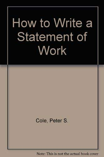 9781567260816: How to Write a Statement of Work