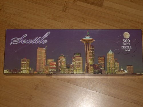 9781569673201: SEATTLE Night Skyline with Full Moon PANORAMIC 500 Piece Jigsaw Puzzle 12