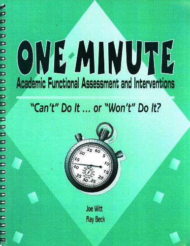 9781570352058: One-Minute Academic Functional Assessment and Interventions: Can't Do It. . .or Won't Do It?