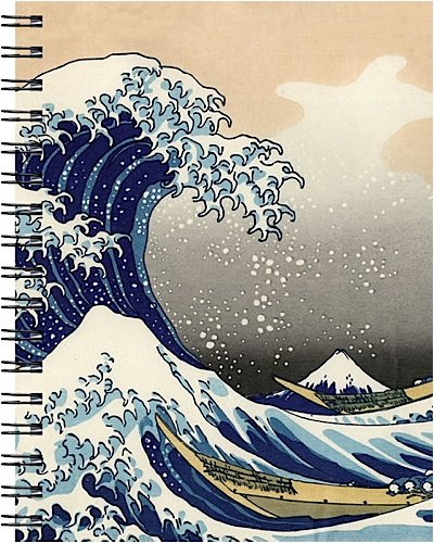9781571334336: Wire-o Journal - Hokusai Wave - Medium..( Lined both sides - Black wire-o )