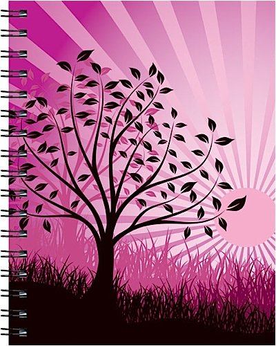 Wire-o Journal - Purple Tree - Medium.( Lined both sides - Black wire-o )