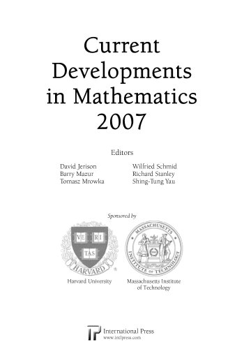 Current Developments in Mathematics 2007 (Paperback)