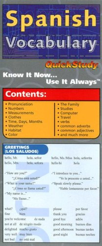 Spanish Vocabulary (Quickstudy: Compact): Editor-Liliane Arnet