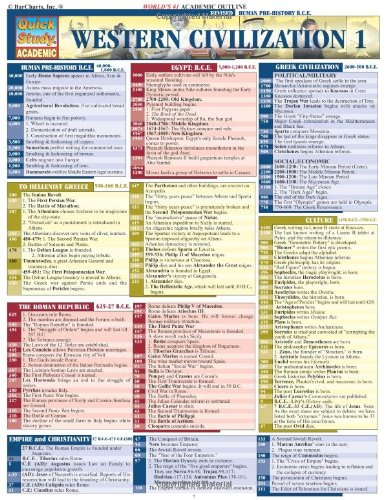 Western Civilizations 1 Laminated Reference Guide (Quickstudy: BarCharts, Inc.