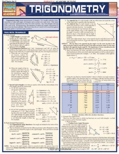 Trigonometry: Reference Guide (Quickstudy: Academic): BarCharts, Inc.