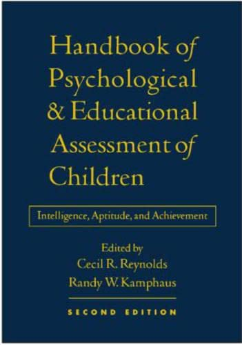 9781572308831: Handbook Of Psychological And Educational Assessment Of Chil: Intelligence & Achievement: Intelligence, Aptitude, and Achievement