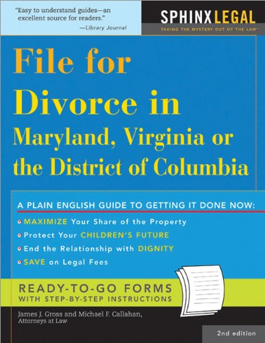 9781572485365: File for Divorce in Maryland, Virginia or the District of Columbia, 2E (Legal Survival Guides)