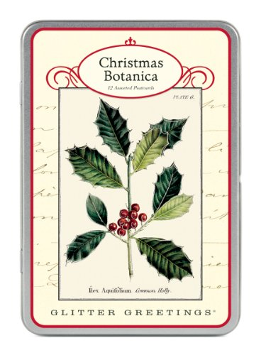 9781574896022: Cavallini Christmas Botanica Glitter Greetings, 12 Assorted Postcards