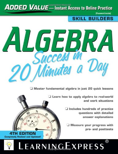 9781576857199: Algebra Success in 20 Minutes a Day