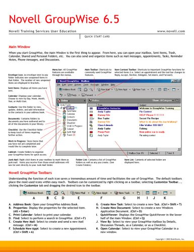 9781578302024: Novell GroupWise 6.5 Quick Start Card