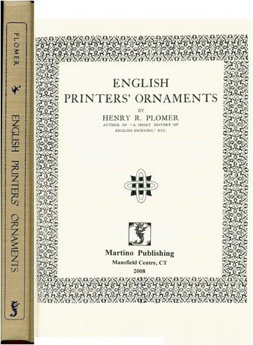 English Printers' Ornaments.: Plomer, Henry R.