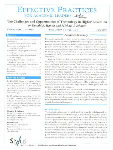9781579221553: Effective Practices for Academic Leaders: The Challenges and Opportunities of Technology in Higher Education (Effective Practices for Academic Leaders Archive)