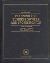 9781579960780: Planning For Business Owners And Professionals (Huebner School Series)