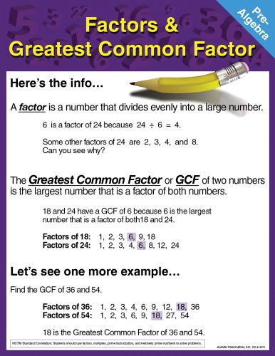 9781580375412: Pre-Algebra Chart: Factors and Greatest Common Factor