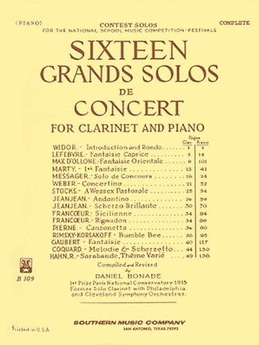 16 Grand Solos de Concert: Clarinet with Piano: Bonade, Daniel