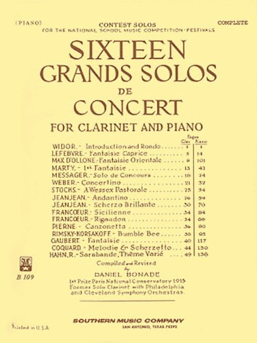 9781581060560: Sixteen Grands Solos de Concert for Clarinet and Piano