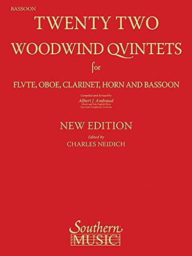 9781581061987: 22 Woodwind Quintets - New Edition: Bassoon Part