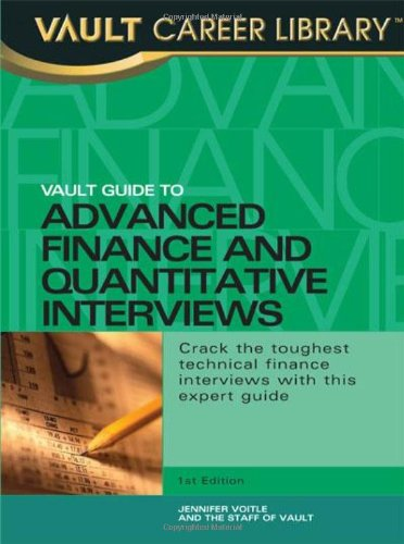 9781581311723: Vault Guide to Advanced Finance & Quantitative Interviews