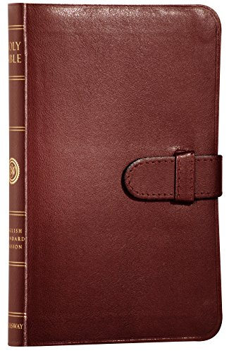 ESV Compact Bible, Premium Bonded Leather, Burgundy, Red Letter Text, Slide Tab Closure
