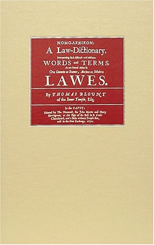 9781584774150: Nomo-Lexikon: A Law-Dictionary : Interpreting Such Difficult and Obscure Words and Terms, As Are Found Either in Our Common or Statute, Ancient or Modern Lawes