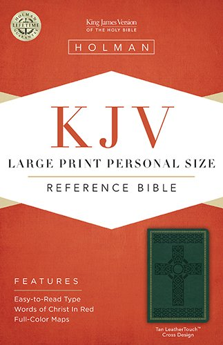 9781586404277: KJV Large Print Personal Size Reference Bible, Green Cross Design LeatherTouch