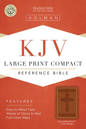 9781586404307: KJV Large Print Compact Reference Bible, Tan Cross Design LeatherTouch