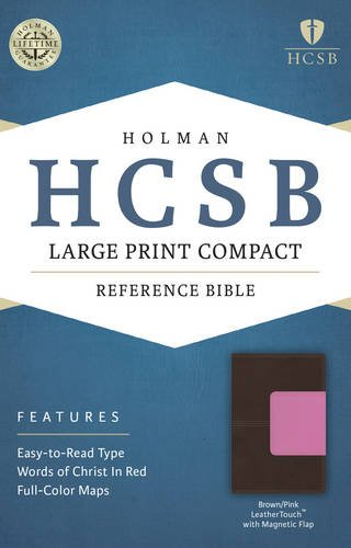 9781586407599: HCSB Large Print Compact Bible, Brown/Pink LeatherTouch with Magnetic Flap