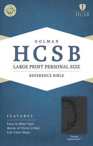 9781586407650: HCSB Large Print Personal Size Bible, Charcoal LeatherTouch