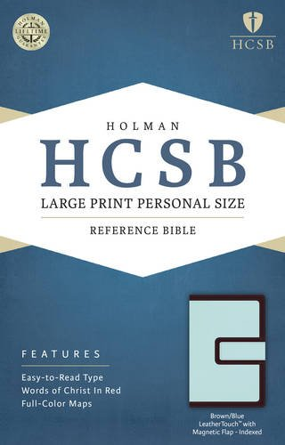 HCSB Large Print Personal Size Bible, Brown/Blue LeatherTouch with Magnetic Flap Indexed