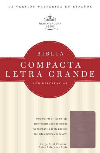 RVR 1960 Biblia Compacta Letra Grande con Referencias, cristal rosado simulación piel (...
