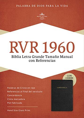 9781586408985: RVR 1960 Biblia Letra Grande Tamaño Manual, negro piel fabricada con índice, con cierre (Spanish Edition)