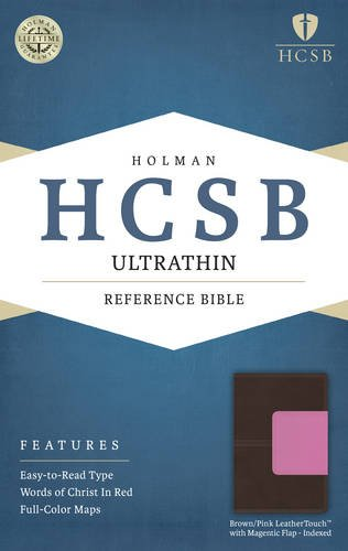 9781586409357: HCSB Ultrathin Reference Bible, Brown/Pink LeatherTouch with Magnetic Flap Indexed
