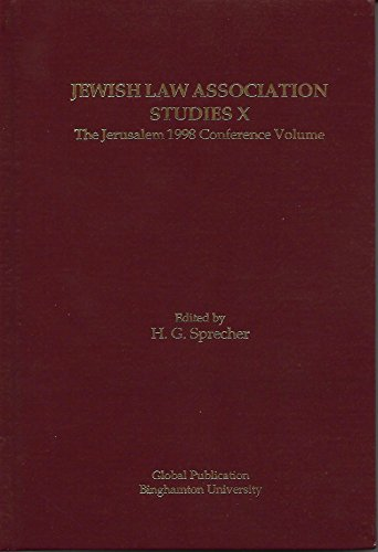 Jewish Law Association Studies X: The Jerusalem: Sprecher, H.G., edited