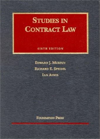 9781587784880: Studies in Contract Law (University Casebook)