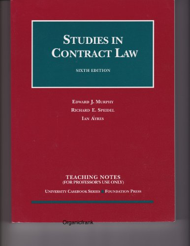 9781587786020: Studies in Contract Law (Teaching Notes) (University Casebook Series)