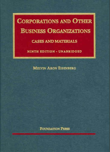 9781587788789: Corporations and Other Business Organizations Cases and Materials, Ninth Edition (University Casebook Series)