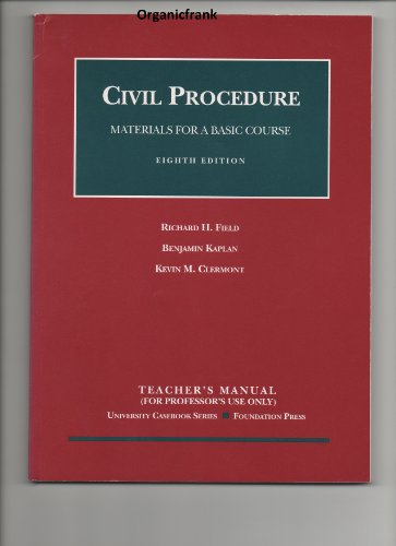 9781587789151: Civil Procedure: Materials for a Basic Course, 8th Edition (Teacher's Manual - University Casebook Series)
