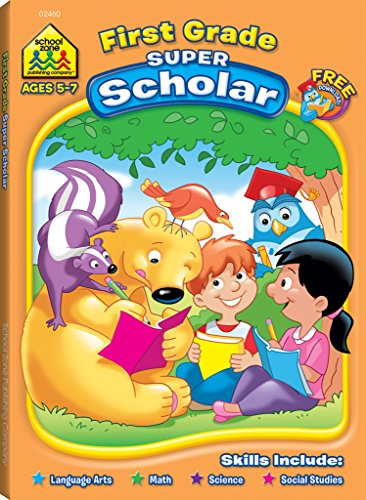 9781589470095: School Zone - First Grade Super Scholar Workbook, Ages 5 to 7, Alphabetizing, Phonics, Rhyming, Sentence and Story Structure, and More