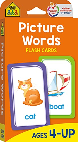 9781589474802: School Zone - Picture Words Flash Cards - Ages 4 and Up, Preschool to Kindergarten, Phonics, Early Reading Words, Sight Words, Word-Picture Recognition, and More
