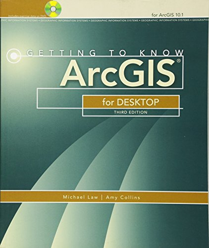 Getting to Know ArcGIS for Desktop 9781589483088 Getting to Know ArcGIS® for Desktop is a workbook that introduces the principles of GIS via hands-on exercises. Readers are shown how to use ArcGIS for Desktop software tools to display and present maps and data, and then query and analyze the data. The third edition has been reorganized and includes new topics such as exploring online resources and raster data and contains new exercises, data, and learning tools. Known for its broad scope, clarity, and reliability, Getting to Know ArcGIS for Desktop is equally well-suited for classroom use, independent study, and as a reference. A data DVD for working through the exercises is included with the book, and access to a 180-day trial of ArcGIS 10.1 for Desktop is provided.