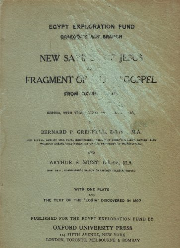 9781590260524: New Sayings of Jesus and Fragment of a Lost Gospel from Oxyrhyncus