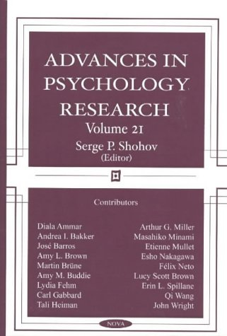 Advances in Psychology Research, Volume 21.: Serge P. Shohov
