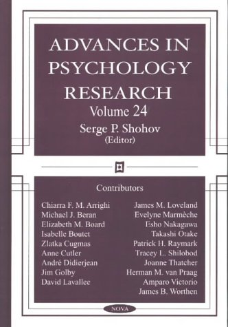 Advances in Psychology Research: v. 24 (Paperback)