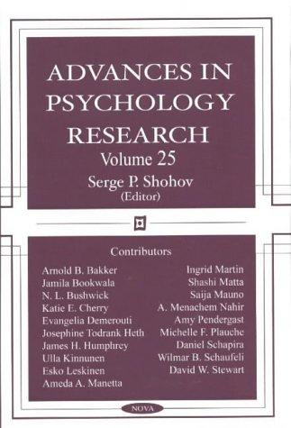 Advances in Psychology Research Volume 25: Shohov, Serge P. Ed.